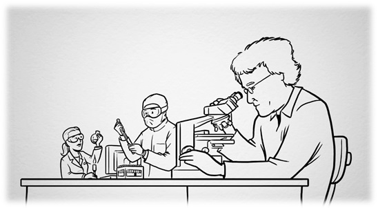Tekening onderzoekers